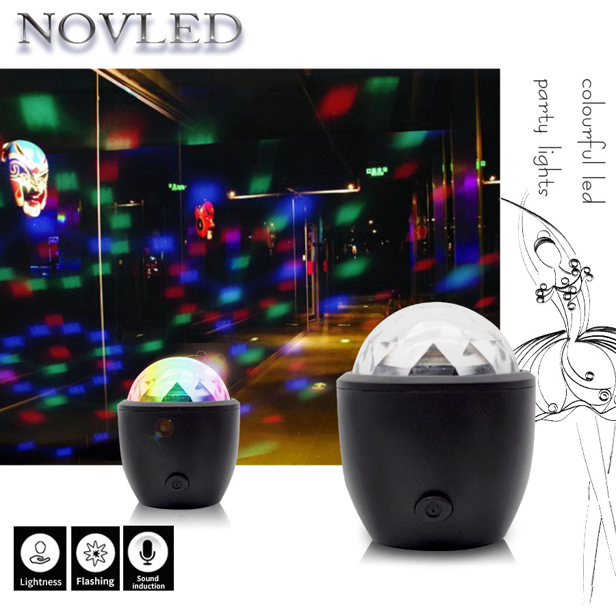 Disco Light Mini Stage Light 3W USB Powered Sound Actived Multicolor Disco Ball Magic Effect Lamp For Birthday Party Concert Bar