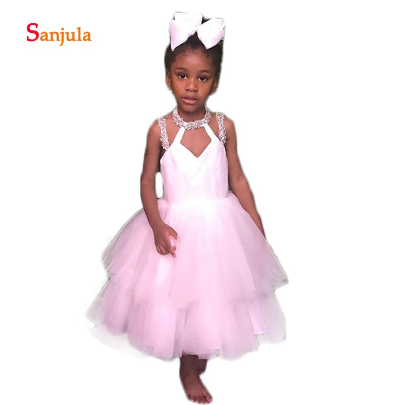 White Tulle Tieres Skirt Ball Gown   Flower     Girls     Dresses   Beaded O-Neck Ankle Length Child First Communion Gown Birthday DressD988