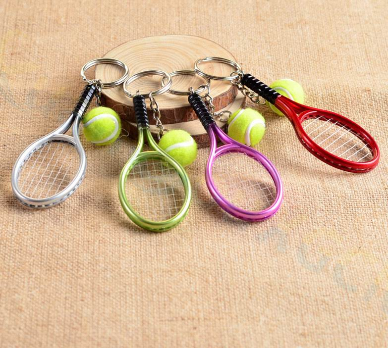 400pcs Tennis bag Pendant plastic mini tennis racquet key ring small Ornaments sport keychain fans souvenirs chain gifts