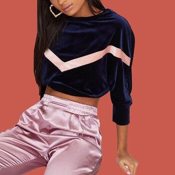 Crop Top Hoodie Women Velour Tracksuit Sweatshirt Stripe V Shape Hoodie Velvet Pullover Poleron Mujer 2019 Contrast Color Hoodie цена 2017