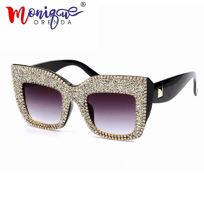 2018 frauen sonnenbrille oversize brille männer platz sonnenbrille Kleine diamant mode marke brille schwarz brillen gafas de sol