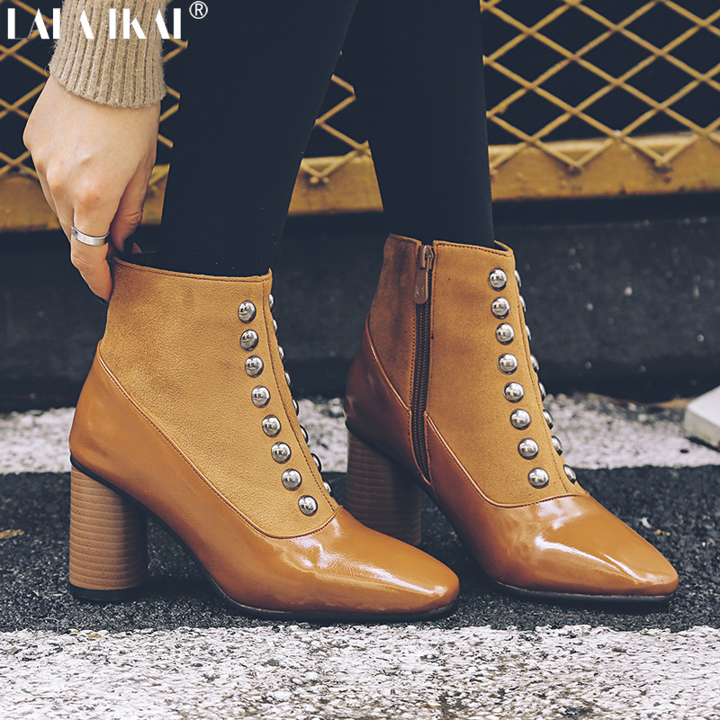 LALA IKAI Women Ankle Boots Winter Rivet Square Heels Pointed Toe Chelsea Boots Zipper Ladies Boots Femininas XWC2380-5 женские блузки и рубашки hi holiday roupas femininas blusa blusas femininas