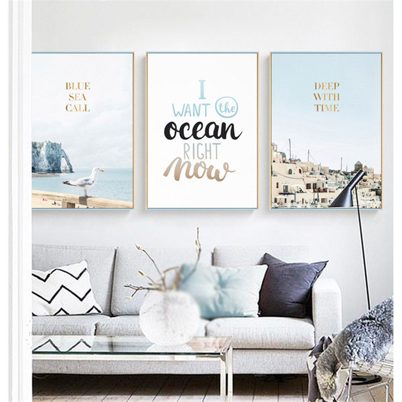 HAOCHU Nordic Landscape Canvas Art Print Painting Poster Modern Seascape Text Personality Living Room Bedroom Decoration Picture in Painting Calligraphy from Home Garden
