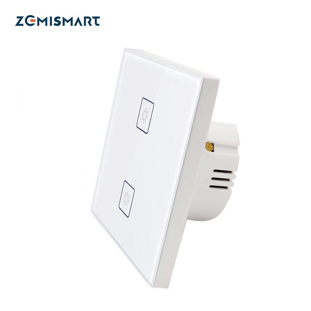 Zigbee 3.0 2 Gangs EU Wall Light Switch Work With Amazon Alexa Google Home Via SmartThings Bridge APP Phone Voice Control