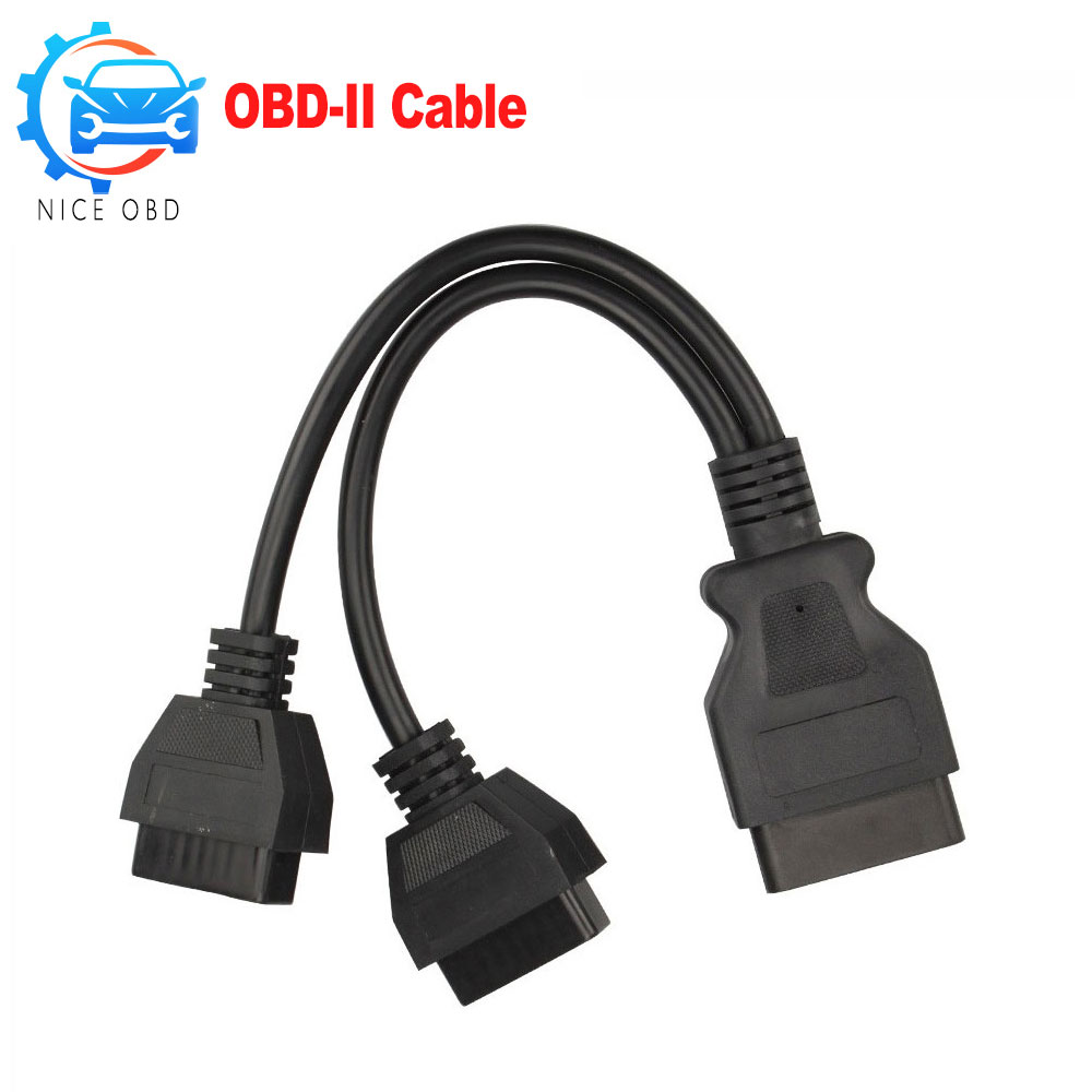 OBD2 16Pin Male to 2 Female Extension Cable 16 pin adapter Diagnostic Extender 1 Male to 2 female Connector obd 2 black adapter