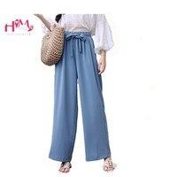 Women Solid Color Chiffon Linen Pants Korean Ulzzang Drawstring Wide Leg Pants Femme Plus Size High Waist Lace up Flowy Trousers