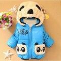 Nuevos Bebés Chaqueta de Invierno Mantener Caliente la Historieta de la Panda de Algodón Niños Abrigos con capucha Casual Outwear Niños Ropa
