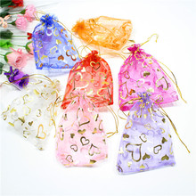 Купить с кэшбэком 10pcs 7x9cm Organza Bags 9x12 Jewelry Carrier Gift Bags Cosmetic Storage Bags Heart Design Hot stamping on Organza