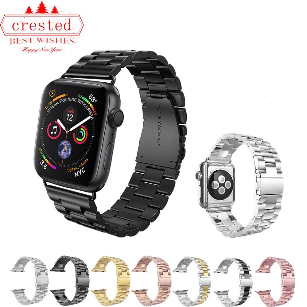 Luxus Edelstahl Strap für apple watch band 42mm/44mm/38mm/40mm iWatch 4/3 band correa link armband Armband metall gürtel