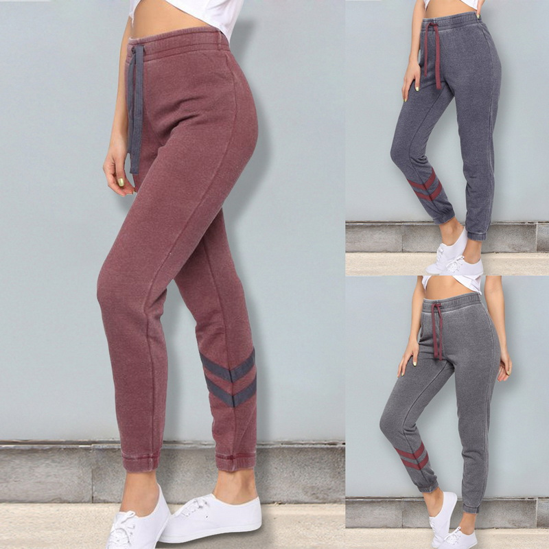 Vertvie Women Running Pants Gym Yoga Training Pants Stripe Jogging Leggings Fitness Slim Sport Pants 2019 Athletic Sportswear