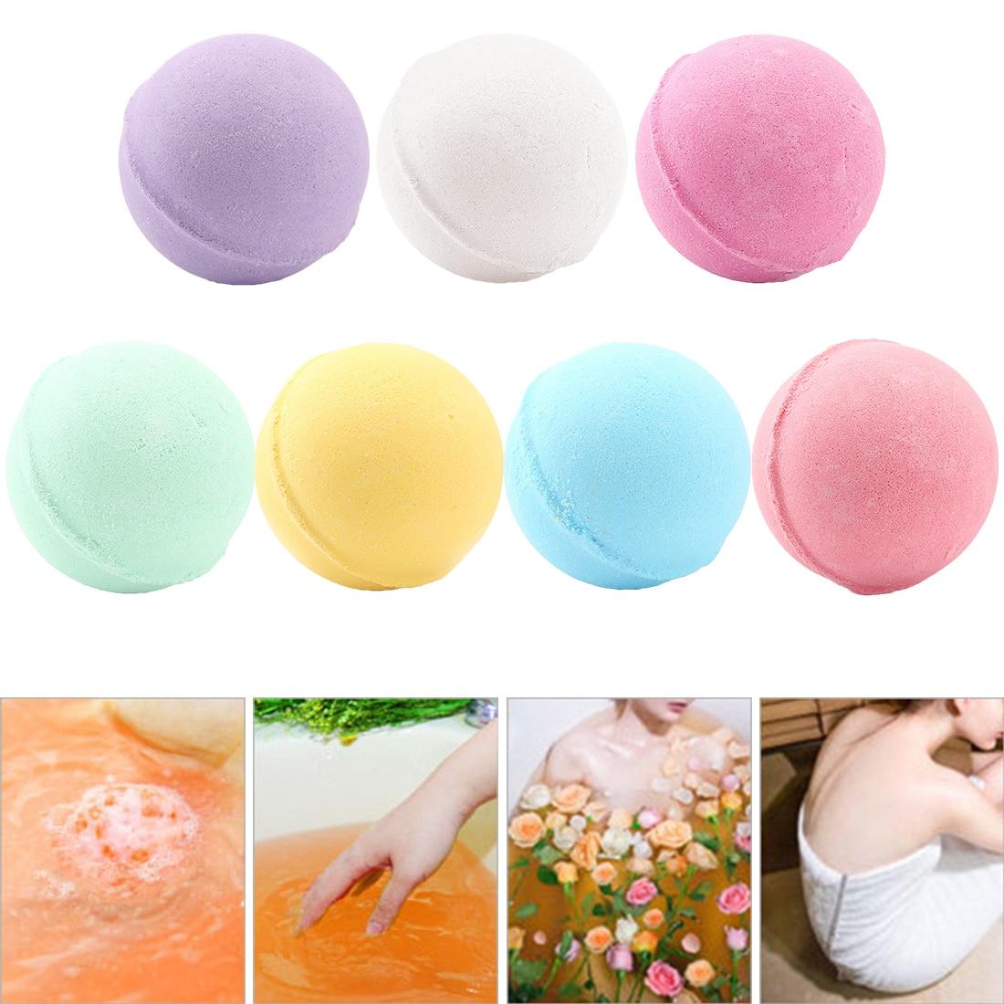 1pc Deep Sea Bath Salt Body Essential Oil Bath Ball Natural Bubble Bath Bombs Ball Rose Green Tea Lavender Lemon Milk Random