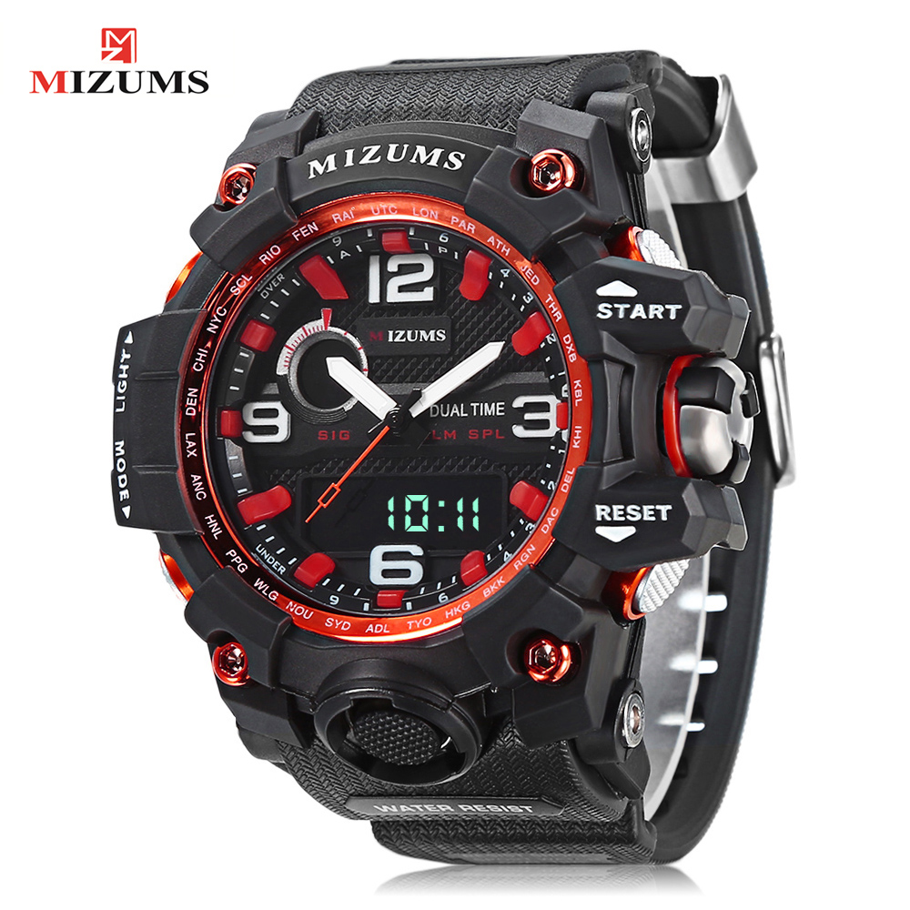 Digital Watch Men Waterproof Sports Watches Dual Time Zones Quatz Men's Watch PU Strap Shock Resist Luxury Brand Wrist Watch Man