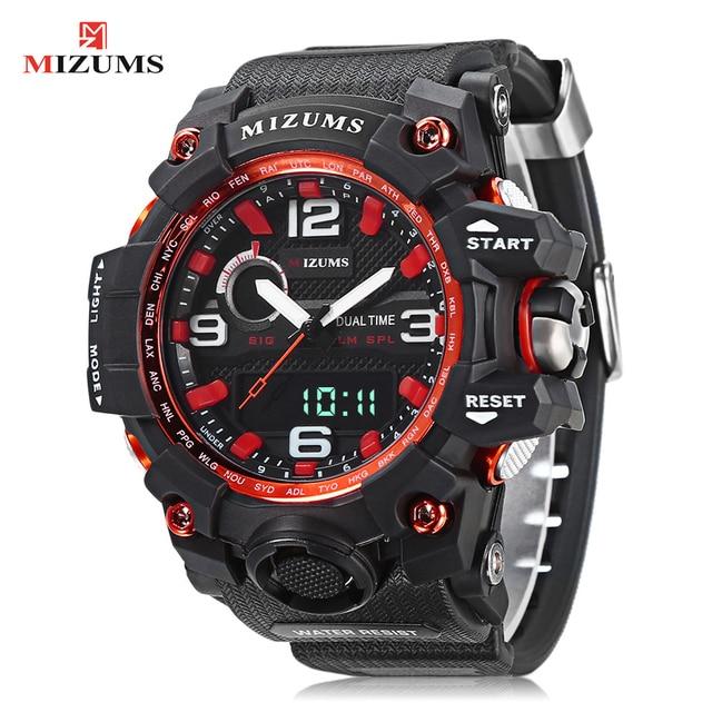 Digital Watch Men Waterproof Sports Watches Dual Time Zones Quatz Men's Watch PU Strap Shock Resist Luxury Brand Wrist Watch Man