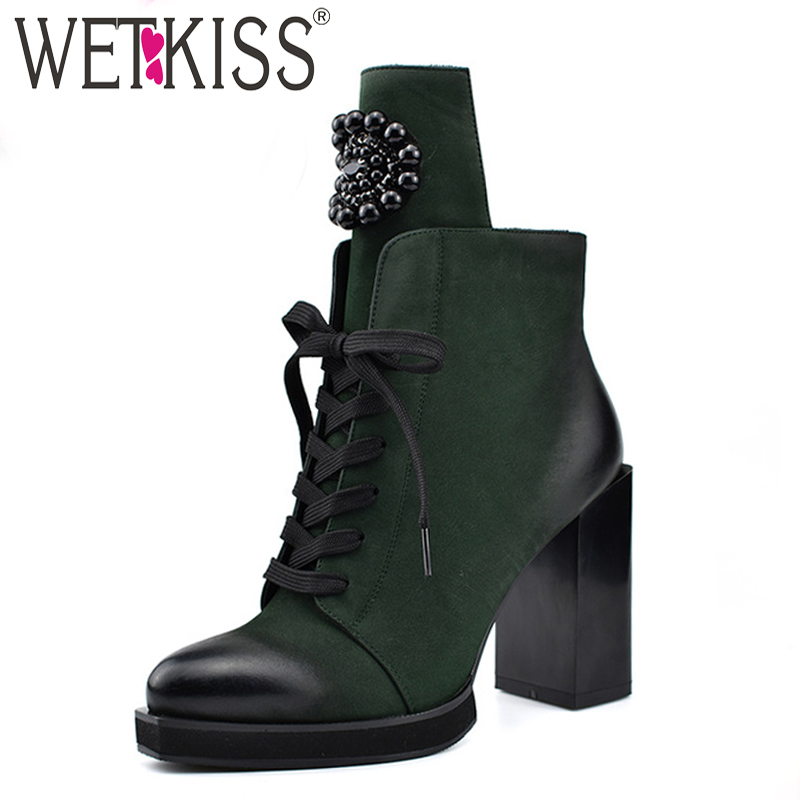 WETKISS New Fashion Lady Ankle Boots Winter Metal Decoration Crystal Square High Heels Booties Zip Lace Up Women Boots Autumn пуховик nike nike ni464embwip9