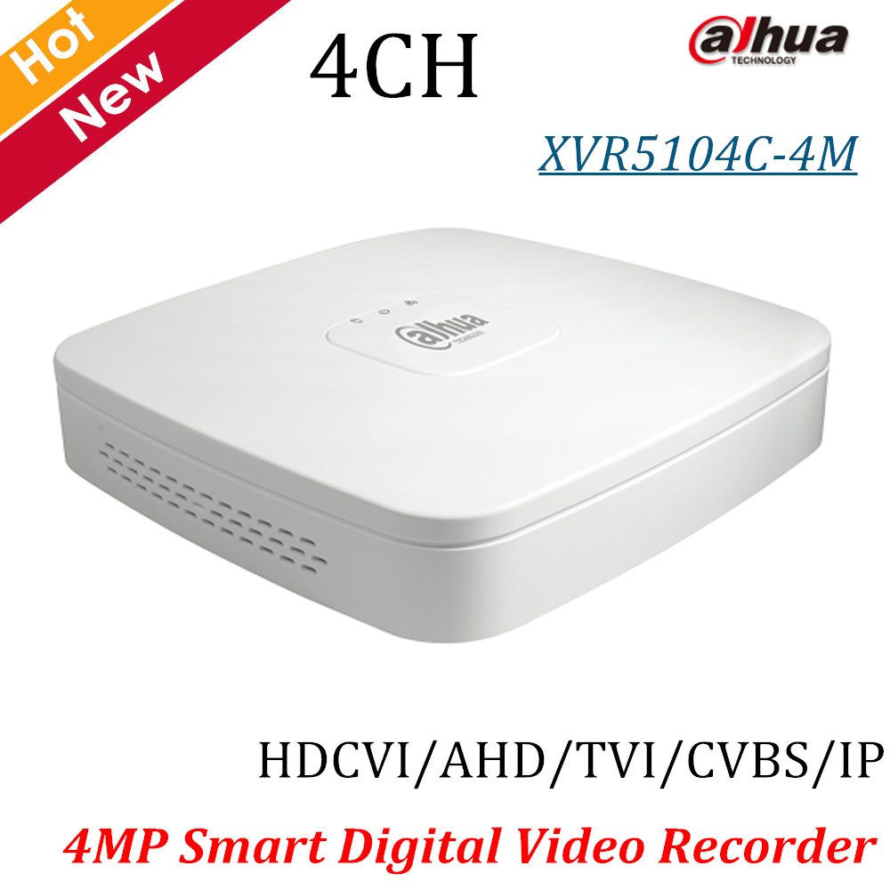 New Dahua 4MP XVR Recorder XVR5104C-4M 4 Ch Smart 1U Digital Video Recorder H.264 Max 6ch IP camera inputs up to 5MP P2P protector s1004v 4 ch h 264 hard disk digital video recorder w wired mouse black