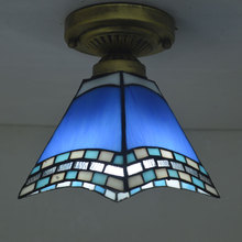 Tiffany Ceiling Light Stained Glass Lampshade Mediterranean Sea Style Hallway Lighting Fixture E27 110-240V