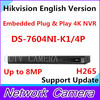 Hikvision English Version DS 7604NI K1 4P Embedded Plug Play 4K NVR Support H 265 Up