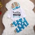 Precioso Bebé, Niña, Niño Tapa Mameluco Elefante Pantalones Leggings Casual con Sombrero 3 unids Bebés Ropa Trajes Set