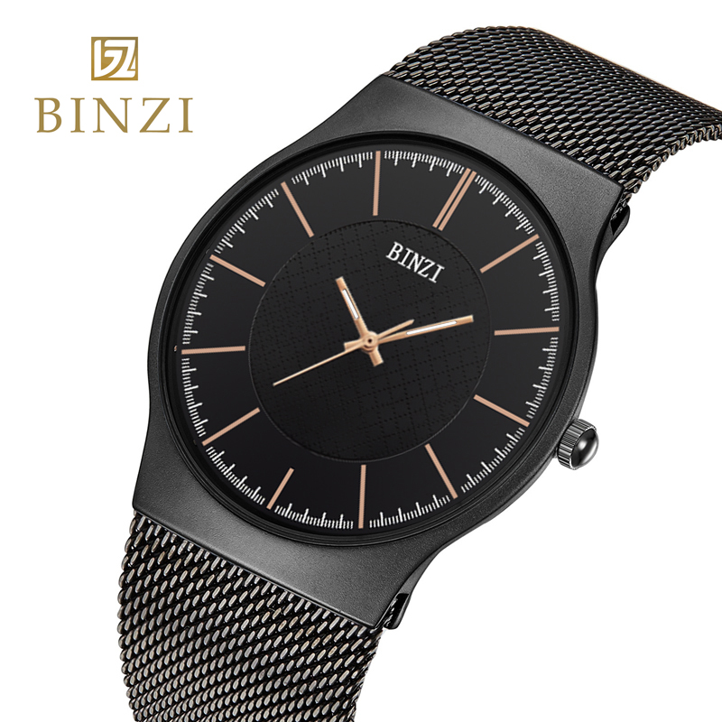BINZI Men's Wrist Watch Male Quartz Clock Man Relogio Masculino Mens Watches Top Brand Luxury Black Gold Steel Business Clocks new fashion men business quartz watches top brand luxury curren mens wrist watch full steel man square watch male clocks relogio