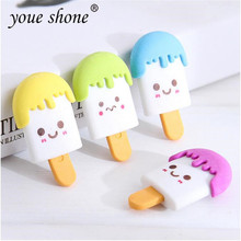 1PCS kawaii Korean stationery Ice Cream Shape Eraser TPR Rubber Cartoon Cute Erasers Student Stationery Prize Gift