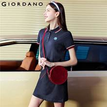 Giordano Women Polo Dress Women Short Sleeves Turn-down Collar Embroidered Graphic Stretchy Polo Women Summer Dress Side Vents
