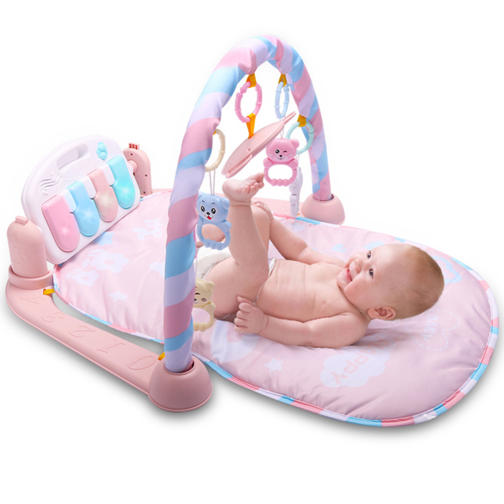 Baby Blanket Kick Play Lay Sit Toy Activity Play Mat Fitness Bodybuilding Pedal Piano Music Play Mat with Mirror for Newborn