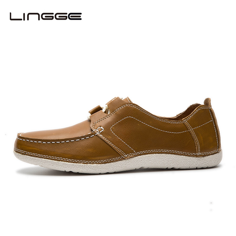 LINGGE Men's Casual Shoes Genuine Leather Men Shoes Comfortable Lace-up Flats Shoes 2017 Casual Shoes For Men #382-5/3 cbjsho brand men shoes 2017 new genuine leather moccasins comfortable men loafers luxury men s flats men casual shoes