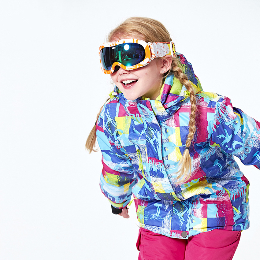 Snow Brand Girls Ski Jacket Waterproof Kids Skiing Jackets Outdoor Children Sport Suit Children Snowboard Winter Snow Coat 176wy