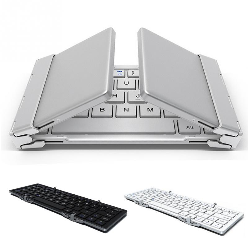 Portable Pocket Folding Keyboard Aluminum Bluetooth Foldable Wireless Travel Keypad for iphone ipad Macbook Tablet Keyboard rk908 portable bluetooth wireless keyboard