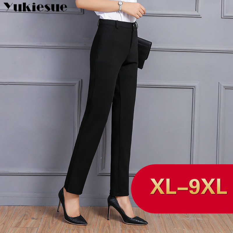 Striaght Pants For Women With High Waist OL Office Workwear Skinny Formal Black Suit Pants Female Trousers Plus Size 8XL 9XL