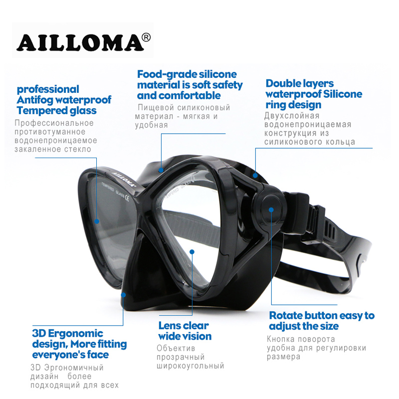 AILLOMA 스쿠버 다이빙 마스크 세트 실리콘 장비 풀 - 수상 스포츠 - 사진 2