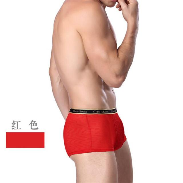 Underwear Fashion Men's Breathable Boxer Soft Silk Shorts Men Sexy Underwear Transparent Male Boxers Summer Style