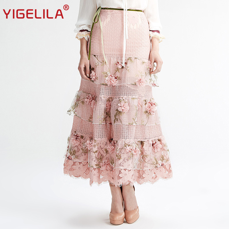 YIGELILA Brand 5323 Latest New Women Fashion Pink High Waist Lace Embroidery Maxi Skirt