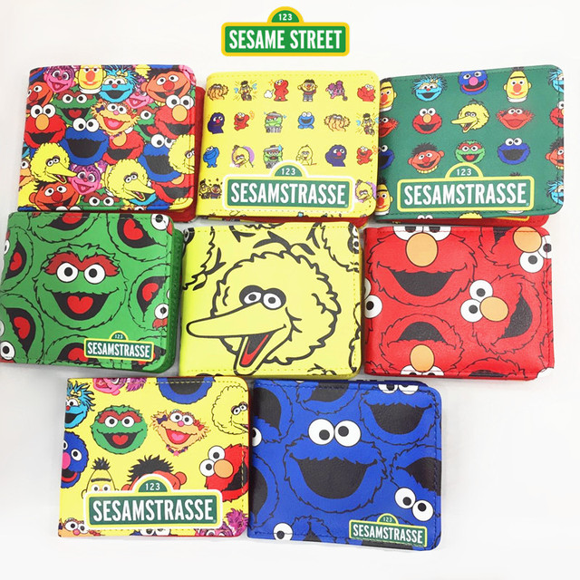 US $10 98 20% OFF|Animated cartoon peripheral ELMO sesame street Elmo  lovely students twenty percent short PU wallet purse-in Wallets from  Luggage &