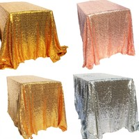 Sparkly Gold Silver 40 X59 Sequin Glamorous Tablecloth Fabric For Wedding Party Event Table Decorations