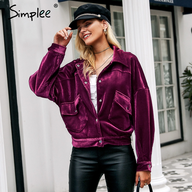 Simplee Corduroy single breasted jackets women Winter front pockets warm thick coats Autumn soft pink casual jacket high street