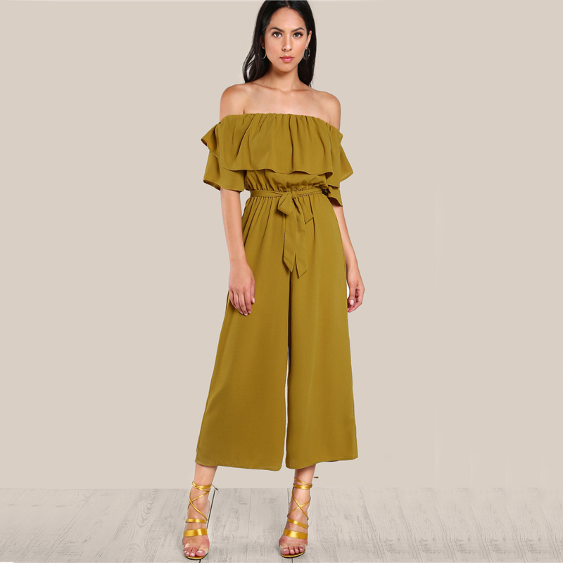 COLROVIE Sexy Flounce Culotte Jumpsuit Women Off Shoulder Self Tie Yellow Jumpsuits 2017 New Ruffle Half Sleeve Elegant Jumpsuit 5
