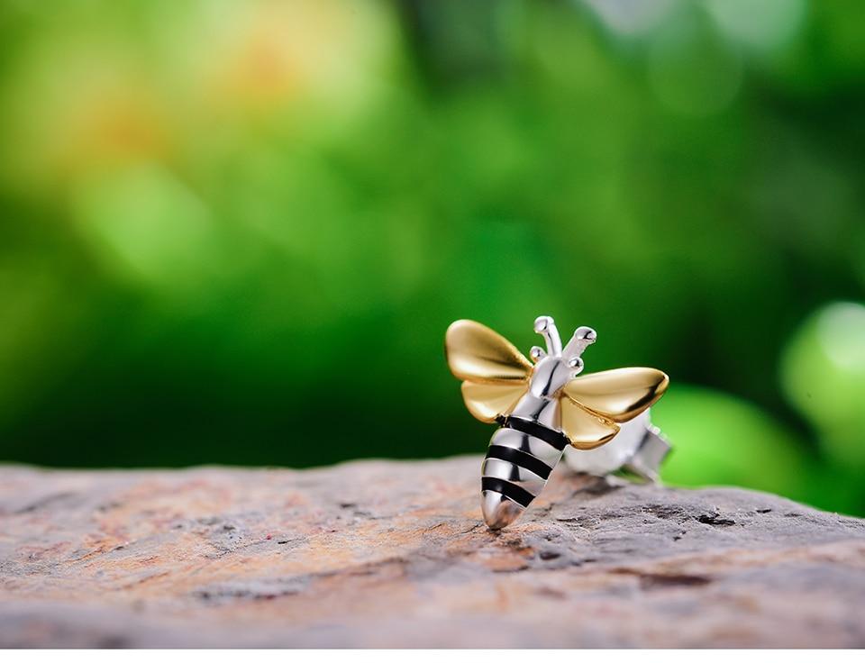 HTB1KHbhX0jvK1RjSspiq6AEqXXay Lotus Fun Real 925 Sterling Silver Earrings Designer Fine Jewelry Lovely 18K Gold Honey Bee Stud Earrings for Women Gift Brincos