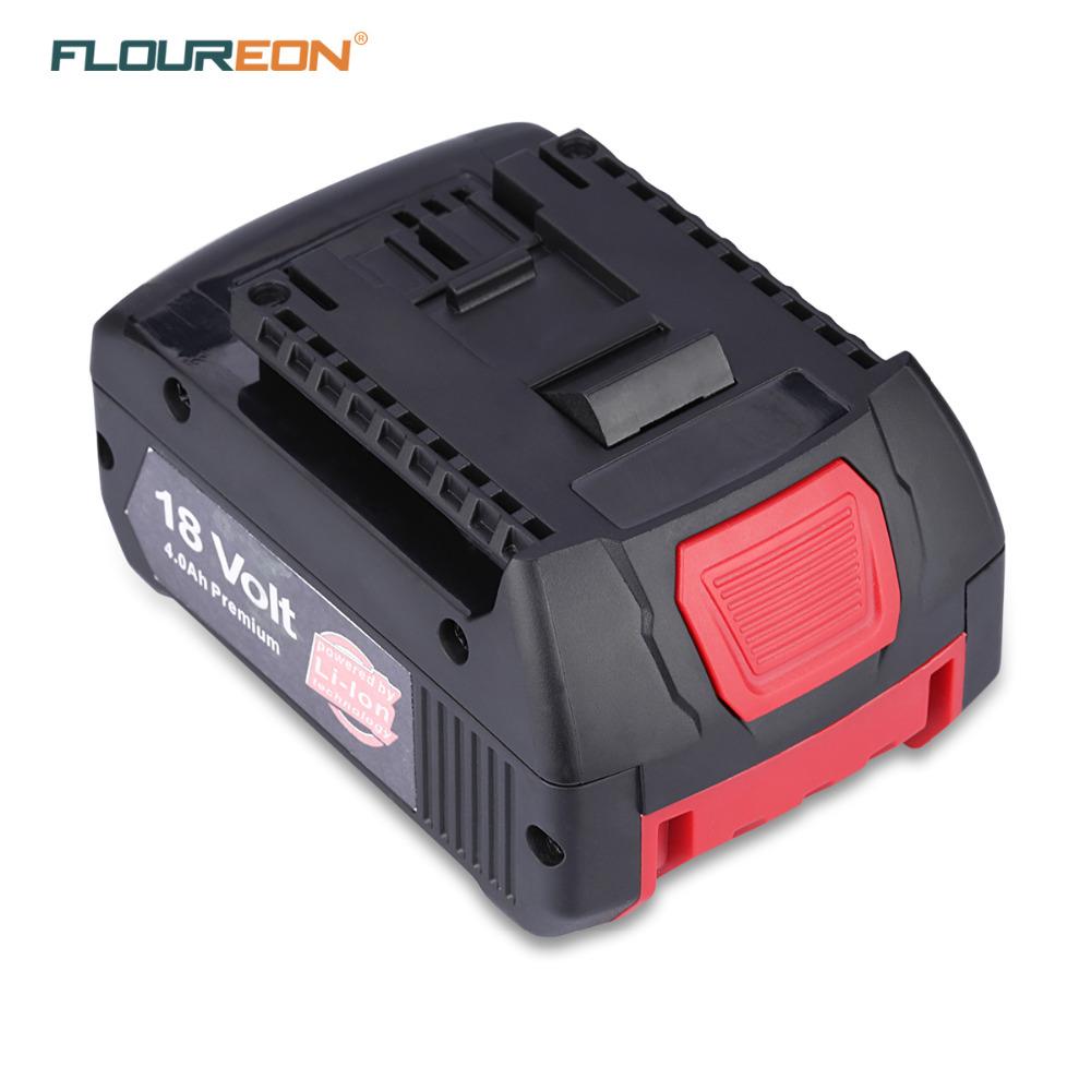 Prix pour FLOUREON BAT609 18 V 4000 mAh Rechargeable Batterie Pack Outils Électriques Batteries de Remplacement Sans Fil pour Bosch Perceuse BAT618 Li-ion