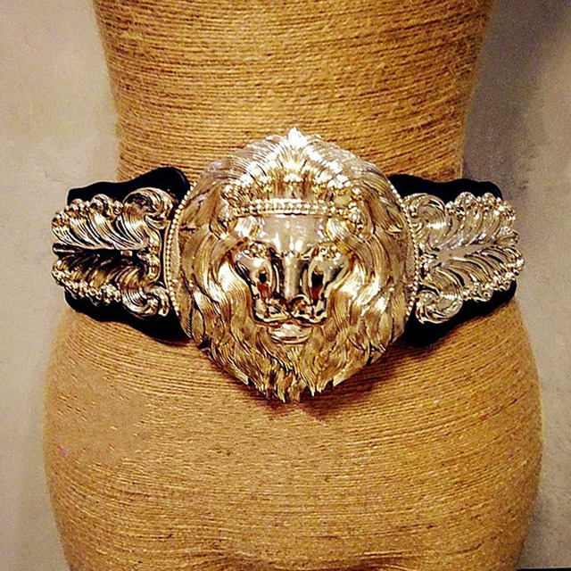 New Fashion metal big lion head wide elastic gold belt exaggerated  high-quality women s belt 8ce7793dd2fe