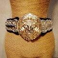 Nueva Moda cabeza de león de metal grande elástico ancho cinturón de oro exagerada accesorios de punk cinturón de falda de la correa de las mujeres de belleza de alta calidad