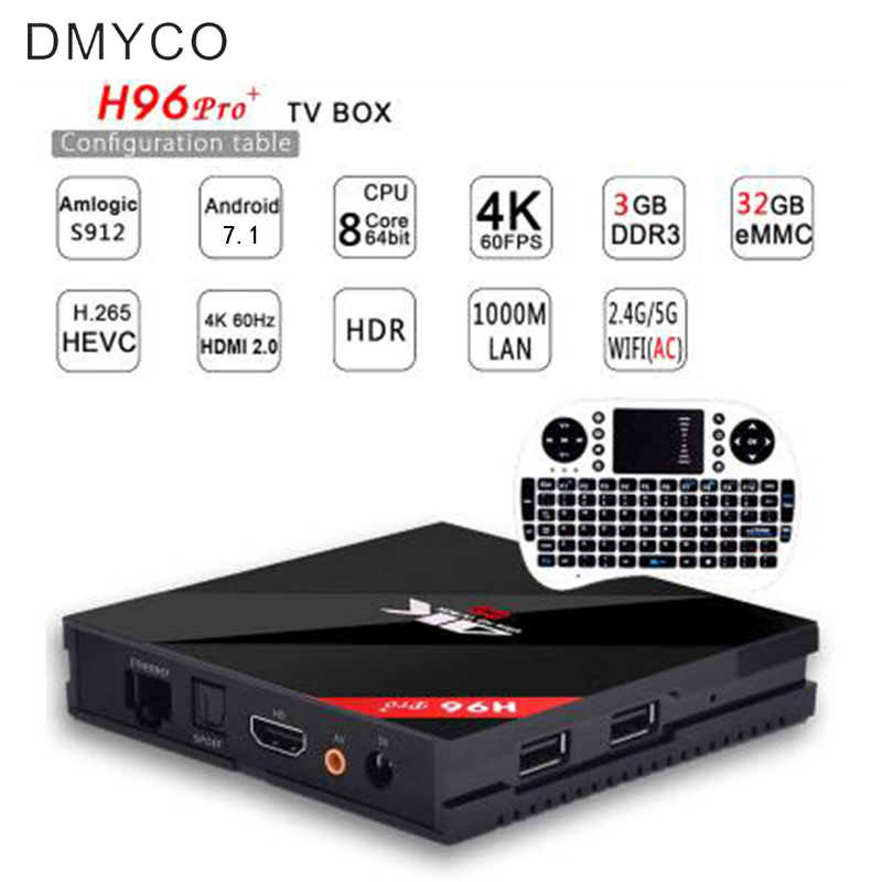 Amlogic S912 OCTA Core Smart TV Box Android 7.1 h96 pro plus 3g 32g Wifi 4K H.265 h96pro set top box h96 media player forex b016 6608