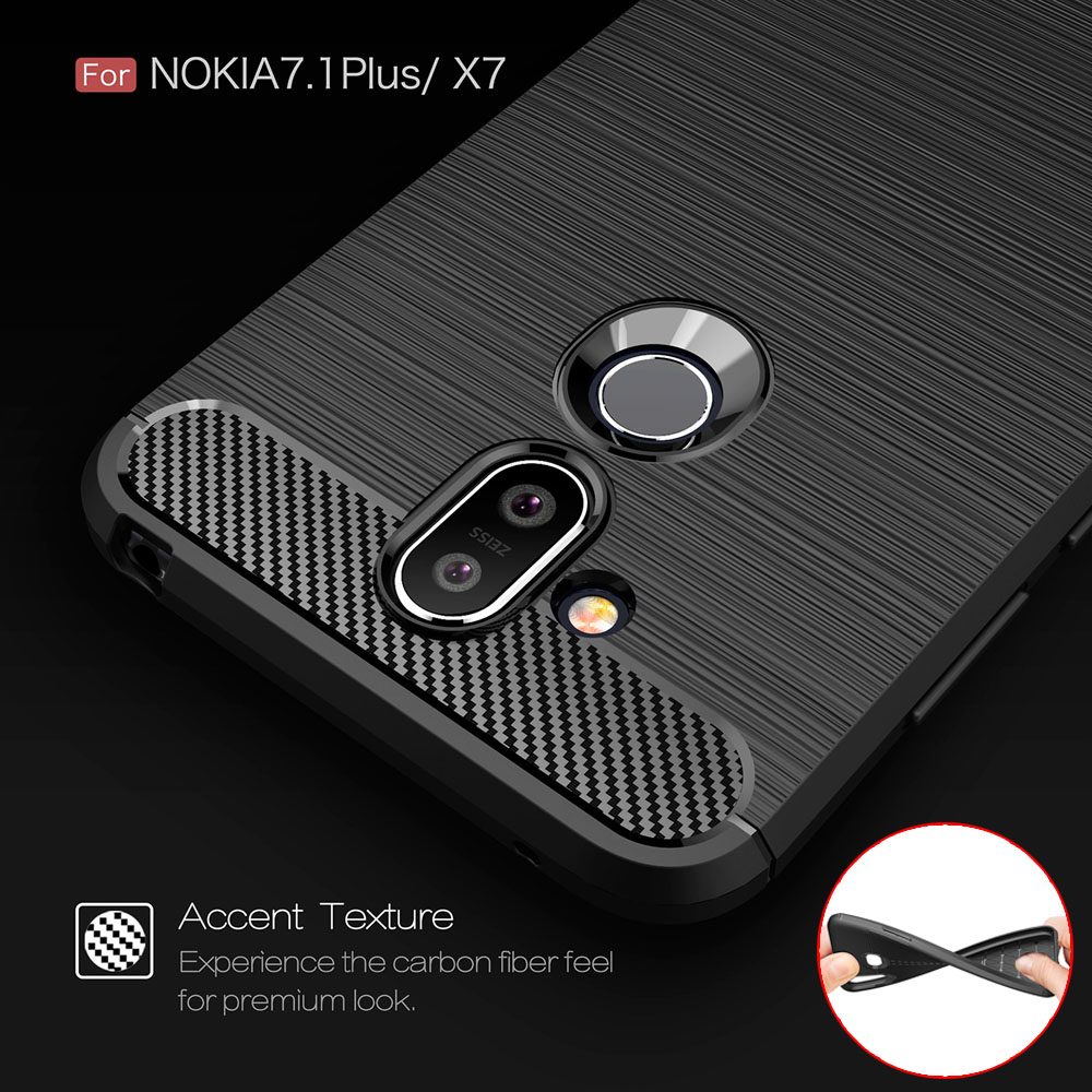 Carbon fiber textured silicone 5.99For Nokia X7 Case For Nokia 7.1 plus Cell Phone Back Cover Case