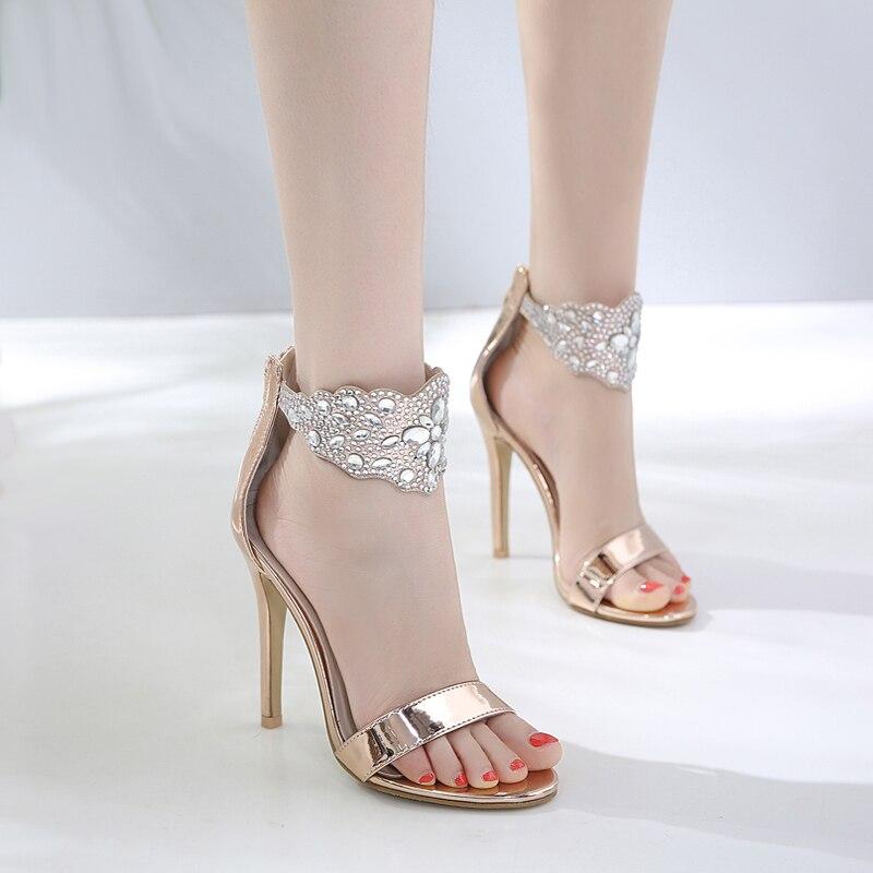 Black heels summer rhinestone ladies sandals women gladiator sandals sexy party shoes for women wedding shoes bride