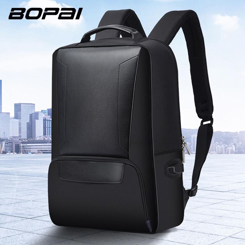BOPAI Laptop Backpack USB External Charge 15.6 Inch Shoulders Anti-theft Microfiber Laptop Backpack Waterproof Travel Backpack