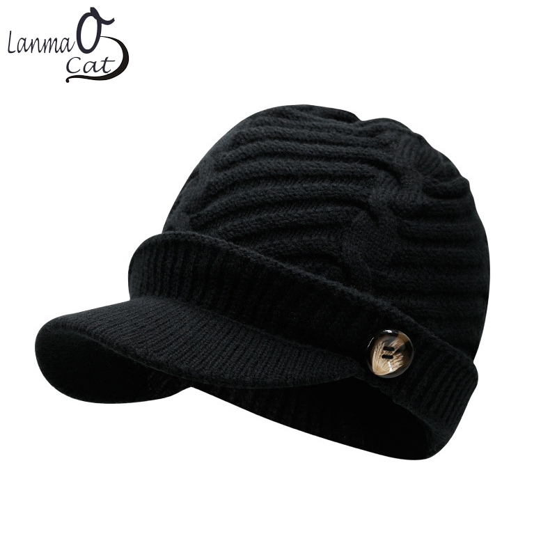 Lanmaocat Knitting Hat Men Women Winter Knitting Hats Warm Cap with Visor Wool Winter Knitting Hats Free Shipping aetrue beanie women knitted hat winter hats for women men fashion skullies beanies bonnet thicken warm mask soft knit caps hats