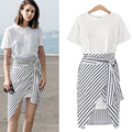 Women's O Neck Crop Brief Tops And Stripe Skirt Set Women Short Sleeve Summer Tracksuit Big Size 4XL Women's Fashion 2 Pieces