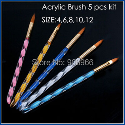 2-Ways Sable Acrylic Kolinsky Nail Art Brush Pen Cuticle Pusher Nail Brush 5Pcs/Set Free shipping