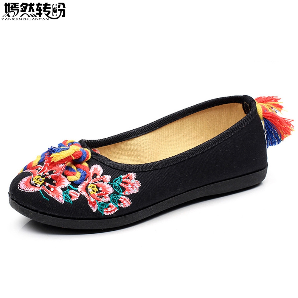 Women Flats Canvas Shoes Floral Embroidered Ladies Comfortable Cotton Colorful Knot Zapato Mujer Slip on Ballets Flats Woman new women chinese traditional flower embroidered flats shoes casual comfortable soft canvas office career flats shoes g006