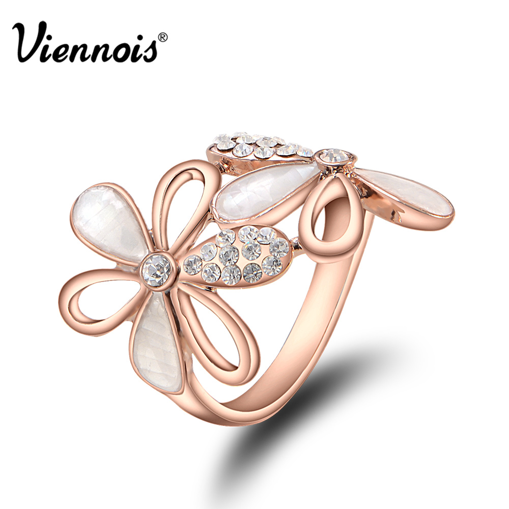 Viennois New Fashion Jewelry Flower Ring Rose Gold Plated ...
